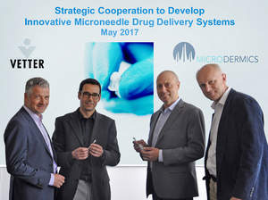 Vetter and Microdermics join forces for innovation in drug delivery. From left to right: Dr. Claus Feussner, Senior Vice President Vetter Development Service; Prof. Boris Stoeber, Co-founder and Chief Technical Officer; Grant Campany, President & CEO (both Microdermics); and Dr. David Brett, Team Leader Product and Service Management at Vetter. Picture source: Vetter Pharma International GmbH / Microdermics Inc.