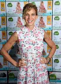 Jessica Seinfeld at the GOOD+ Foundation headquarters in NYC celebrating the 3 millionth diaper donation from Seventh Generation to her nonprofit.