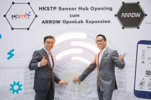 Mr. Simon Yu (right), President of Arrow's components business in the Asia-Pacific region, Mr. Albert Wong (left), CEO of HKSTP attended the HKSTP Sensor Hub Opening cum Arrow OpenLab Expansion.