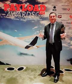 Sean Wall, Executive Vice President, Network Operations & Aviation, DHL Express Asia Pacific receiving the awards on the company's behalf