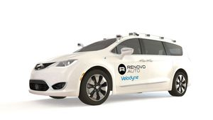 Renovo's highly automated vehicle reference configuration, a Chrysler Pacifica hybrid minivan equipped with two Velodyne VLP-32C and four Velodyne VLP-16 LiDAR sensors with Velodyne branding