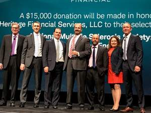 Schwab has named Heritage Financial Partners its 2017 Best-in-Business IMPACT Award winner.   Seen from left to right: Bernie Clark, Executive V.P. and Head of Schwab Advisor Service; Bob Weisse, Chief Investment Officer, Heritage Financial; James Scally, Managing Partner, Heritage Financial; Chuck Bean, CEO & Founder, Heritage Financial; Sammy Azzouz, Managing Partner, Heritage Financial; Ann Smith, COO & CCO, Heritage Financial; Brad Losson, VP and National Managing Director, Relationship Management at Schwab Advisor Services.