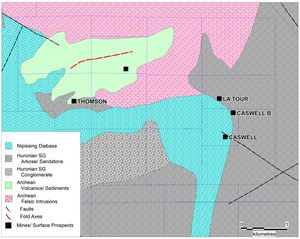 Figure 2. Bedrock geology of the Caswell area based on government maps