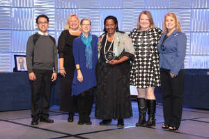 Dr. Gloria McNeal (center), Dean of the School of Health and Human Services at National University, accepted the Planetree Silver Recognition on behalf of the School during the Planetree International Conference on Patient-Centered Care in Baltimore, Maryland.