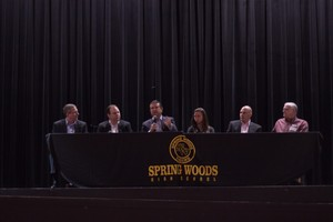 Monkey Island LNG executives Greg Michaels, CEO, and Scott Ray, President of Engineering and Construction, with other panel members. Greg Michaels is pictured speaking to the senior class of Spring Woods High School in Houston, TX.