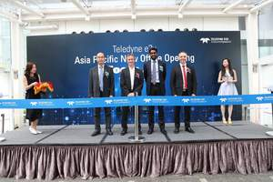 From left: Vice President of Professional Imaging in Asia, Mr. Jack Cheung, President of Professional Imaging, Mr. Francois Thouret, Vice President of Teledyne e2v Asia Pacific, Mr. Anthony Fernandez and President of Semiconductor, Mr. Laurent Monge are cutting the ribbon at Teledyne e2v Asia Pacific's New Office Opening Ceremony.